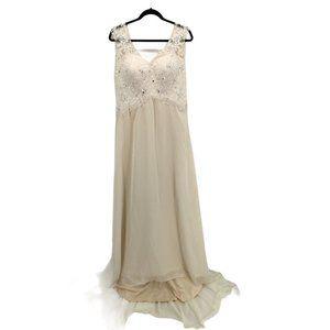 Wedding Dress Lace Double Sleeveless Evening Sz 14